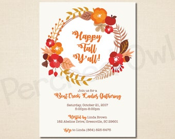 Happy Fall Y'all Invitation - Family Gathering - Neighborhood - Block Party - Cookout - Reunion - Autumn - Pumpkin - Leaves - Digital File