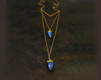 V or Chevron Necklace. Labradorite Necklace. Bullet Necklace. Long Necklace. Multi Layer Necklace. Mixed Metal. NL2188-2