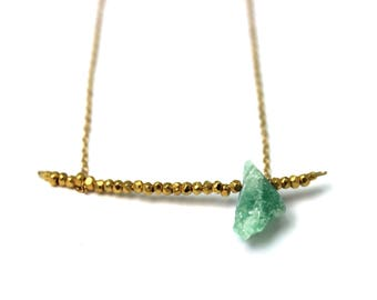 Bar Necklace. Raw Aquamarine Necklace. Rough Aquamarine. Asymmetrical Necklace. Gold or Silver. March Birthstone. N2386