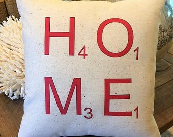 Home Scrabble Pillow, 12 x 12 Inch, red, home pillow,  D