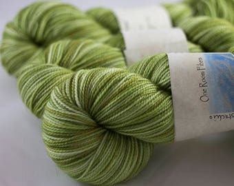 Hand Dyed Sock Yarn, Pistachio Colorway