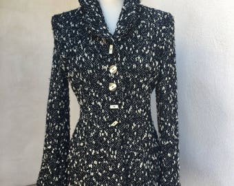 Vintage New Wave jacket chunky weave knit lined black white long sz M