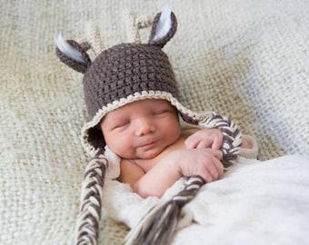 Ready To Ship Newborn Crochet Deer Crochet Hat: Newborn Photo Prop baby boy girl