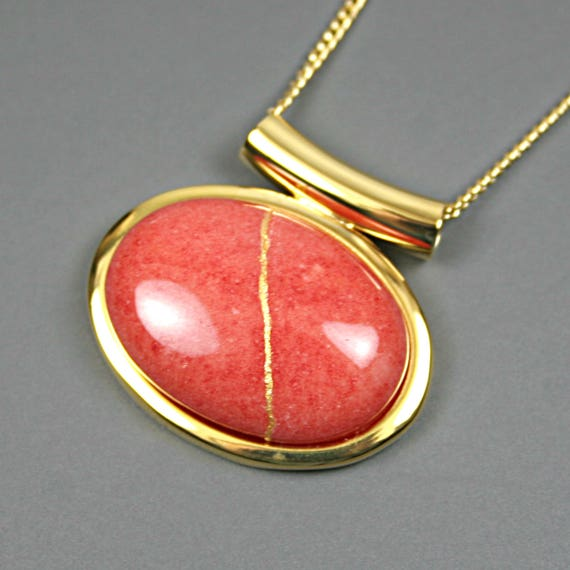 Kintsugi (kintsukuroi) coral dolomite stone cabochon with gold repair in a gold plated setting on gold chain - OOAK