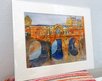 Pulteney Bridge Bath, with mount, of watercolour by John Menage overall size including mount 10in. x 8in