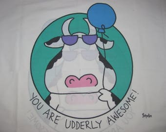 Vintage Boynton for Martex Twin/Standard Pillow Case - Cow in Sunglasses - You are Udderly Awesome! - Small Red Marks