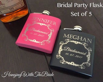 Personalized Flask Bridesmaid Gift set of 5 - Gifts for Bridesmaid - Laser Engraved Flask - Custom Flask Set for Bridesmaid
