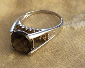 Smokey Topaz Citrine Gold Ring