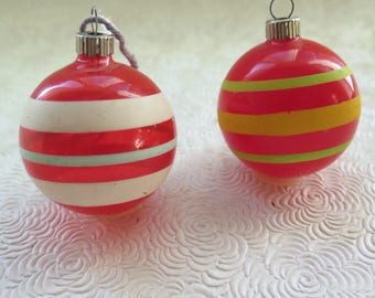 WWII Unsilvered Shiny Brite Red Glass Christmas Ornaments Opaque Ball USA Blown Glass Balls Unusual Lime Green Baby Blue Stripes Retro Tree