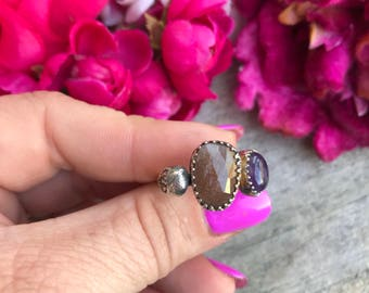 Mini Lacey Ring - Peach Moonstone and Amethyst