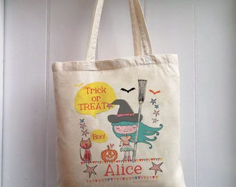 Personalized Trick or Treat Halloween tote, Trick or Treat bag, Halloween bag, wicked witch bag, goodie bag, sweetie bag, candy bag,