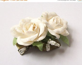 SUMMER SALE SAMPLE Sale White Flower Hair Clip Sparkle Glitter Medium White Roses Glitter Flower Hair Clip Vintage Style Woodland Antique Br