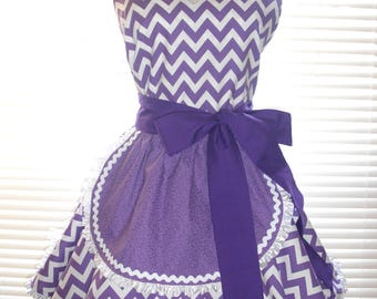 1950's Style French Maid Apron Purple Chevron Lavender and White Pin-up Retro Style Flirty Skirt Sweetheart Neckline