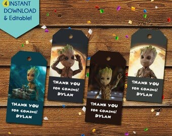Baby Groot Thank You Tags,  Guardian of the Galaxy Groot Party Favors, Groot Birthday Tags, Groot Party Tags, Groot Gift Tags, Favor Tags