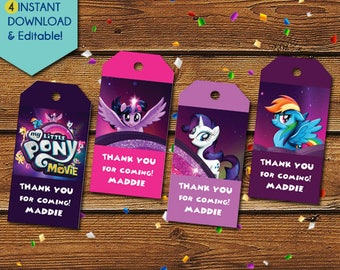 My Little Pony Thank You Tags, My Little Pony Party Favors, My Little Pony Favor Tags, My Little Pony Birthday Tag, My Little Pony Party Tag