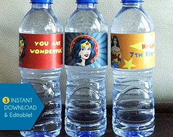 Wonder Woman Water Bottle Labels, Wonder Woman Water Bottle Wrappers, Wonder Woman Water Bottle Wraps, Wonder Woman Bottle Label Template