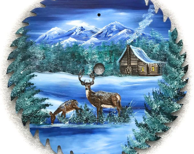 Hand Painted Saw Blade Winter Deer Mountain Cabin 10 1/4 inch Real Saw Blade