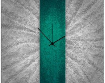 SUMMER SALE Teal Stripe Clock | Contemporary Teal & Grey Clock, Modern Wall Clocks, Turquoise Metal Wall Decor