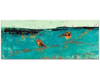 Contemporary Wall Art 'Two Chickadees on Blue Horizon v2' by Janice Sugg - Urban Birds Decor Modern Wildlife Artwork on Metal or Plexiglass