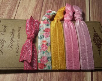 Elastic Hair Ties * Set of 5 * Daffodil & Pink Floral FOE * Pink Sparkle No Crease Hairtie * Hair Band Bracelet