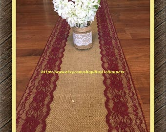 Rustic Country Charm Wedding Burlap and Burgundy Lace Table Runner for a Rustic wedding, Shabby Chic table runner Bridal shower party event