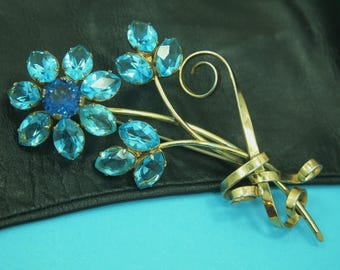 """Vintage Sterling Silver Brooch / Pin - Flower Bouquet Motif - Large cut glass Turquoise and Blue Rhinestones - Gold Plated Silver - 3.75"""""""