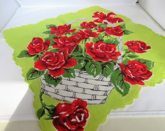 Vintage Cotton Hanky or Hankerchief With Red Roses