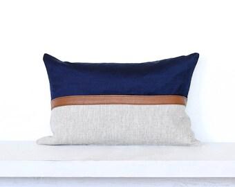Leather and Velvet Stripe Lumbar Pillow Cover - Navy Combo