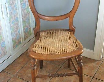 Old Vintage Wooden Balloon Back Chair with Cane Seat