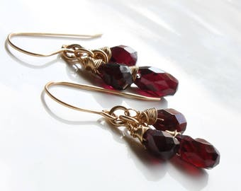 Garnet earrings, Gold filled earrings, deep red gemstone earrings, fine earrings, cluster earrings, January birthstone, gift for her, 3239