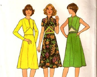 Simplicity 7804 Misses Contrast Triangle Midriff Dress Pattern, Sleeveless, Short Or Long Sleeves, Size 14, UNCUT
