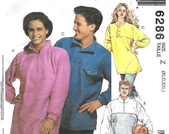 McCall's 6286 Misses, Men's or Teen Boys Pullover Tops Sewing Pattern, Size XL-XXL, UNCUT