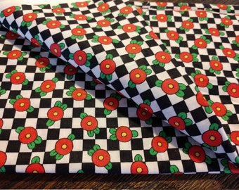 Cranston Print Works RARE OOP Mary Engelbreit Checkered Flower Fabric 1994