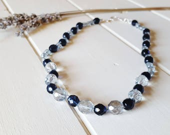 Hand Knotted Sapphire Ice Necklace - Glass & French Cotton, Ready to Ship
