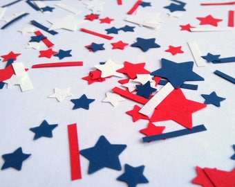 Fourth of July Confetti - Stars and Stripes Confetti - Independence Day Decor - Eco friendly - Americana Party Decorations - Table Confetti
