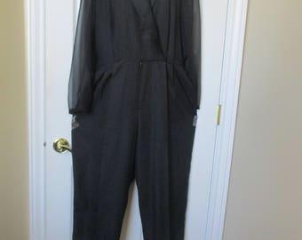 Women's Jumpsuit Size 18 black by Rhodes Collections vtg 80's/90's