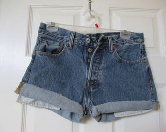 "Levi's 501 Button-Fly Cutoff Jean Shorts size W 30 Measured High Waist 30"" waist FREE SHIPPING!!!!!"