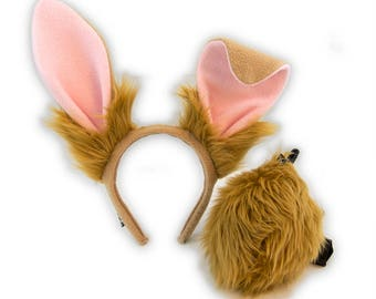 PAWSTAR Poseable Bunny Rabbit Stand UP Ears Headband and Tail Costume Combo Tan Rust Gray Black White Brown Realistic easter spring 4069