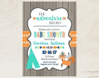 30 Tribal Baby Shower invitations