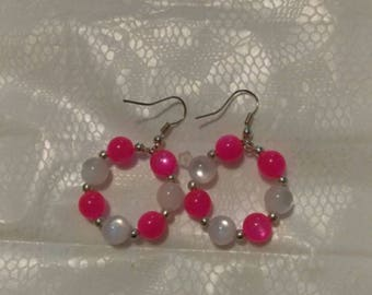 Pink/White 6MM Silver Hoops