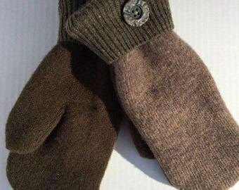 Brown mittens made from upcycled sweaters