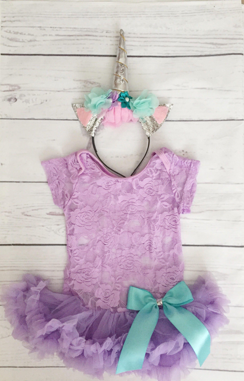Baby girls clothes Unicorn 1st birthday lavender tutu 1st