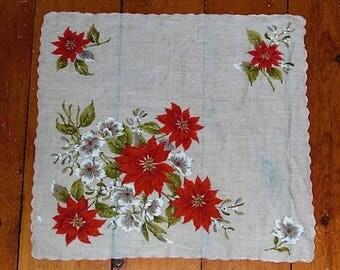 Vintage Christmas Poinsettia Ladies Handkerchief Hanky