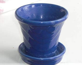 Small Vintage Blue Pottery Planter USA Attached Saucer