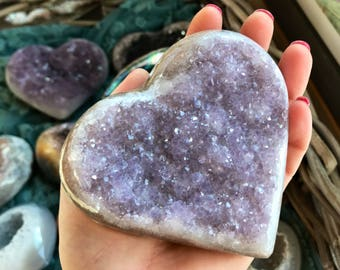 OOAK Geode Heart // rock heart // Valentine's Day