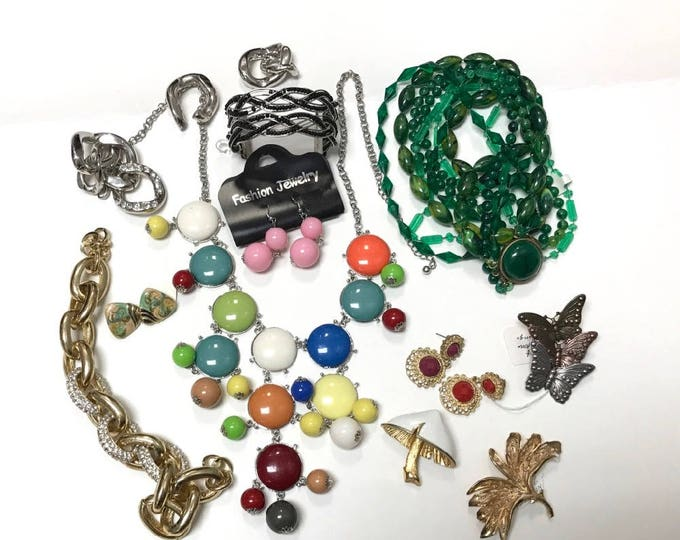 Bits and Pieces of Costume Jewelry, Recycle Jewelry, Up Cycle Jewelry, Broken Jewelry For Crafts, Pins, Necklaces, Earrings, Butterfly Pin