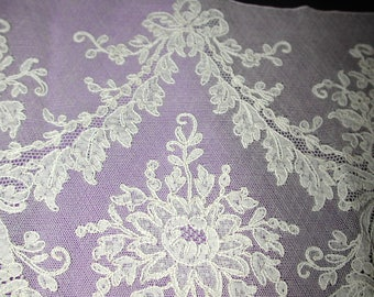 """No. 100 Antique French Silk Alencon Lace For Bridal Bodice?; 11"""" x 36"""";  pristine"""