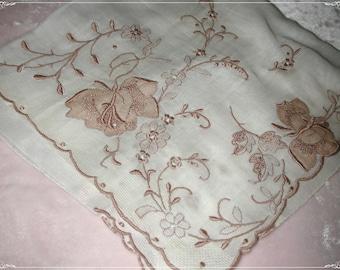 No. 200 ANTIQUE Swiss Cotton Hand Embroidered Handkerchief Brown, No. 51