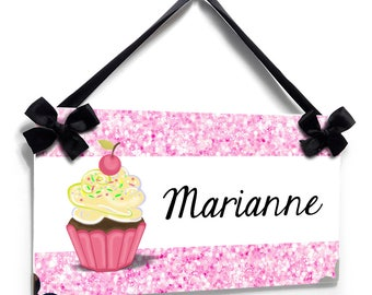 Personalized cupcake theme with pink glitter inspired pattern bedroom door sign - P2644