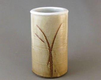 Charles HALLING VASE Mottled Gold Brown 8in Cylinder Pottery Abstract Finger Swipes  Vintage Studio Art Hand Thrown Signed Famous MN Potter
